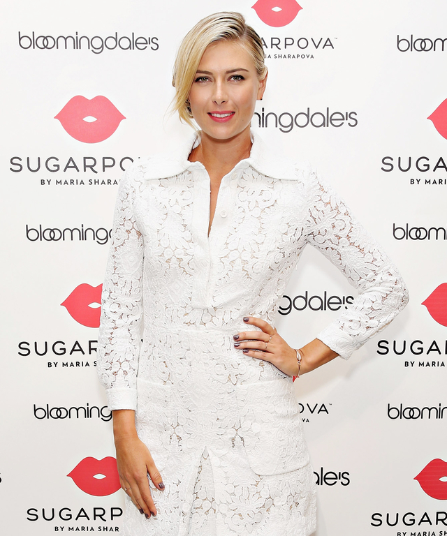 NEW YORK, NY - AUGUST 25:  Maria Sharapova unveils the new Sugarpova Pop-Up Shop at Bloomingdale's Flagship on August 25, 2015 in New York City.  (Photo by Cindy Ord/Getty Images for Sugarpova)