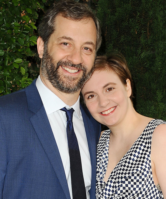 BEVERLY HILLS, CA - OCTOBER 04:  Judd Apatow and Lena Dunham attend the Rape Foundation's annual brunch at Greenacres, The Private Estate of Ron Burkle on October 4, 2015 in Beverly Hills, California.  (Photo by Jason LaVeris/FilmMagic)