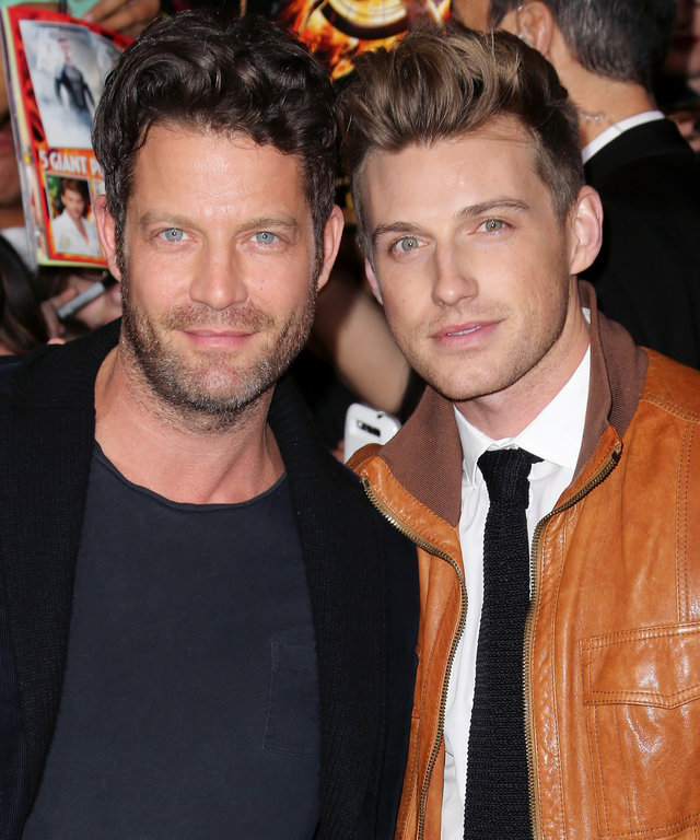 LOS ANGELES, CA - NOVEMBER 18:  TV personality Nate Berkus (L) and Jeremiah Brent attend the premiere of Lionsgate's  The Hunger Games: Catching Fire  at Nokia Theatre L.A. Live on November 18, 2013 in Los Angeles, California.  (Photo by David Livingston/