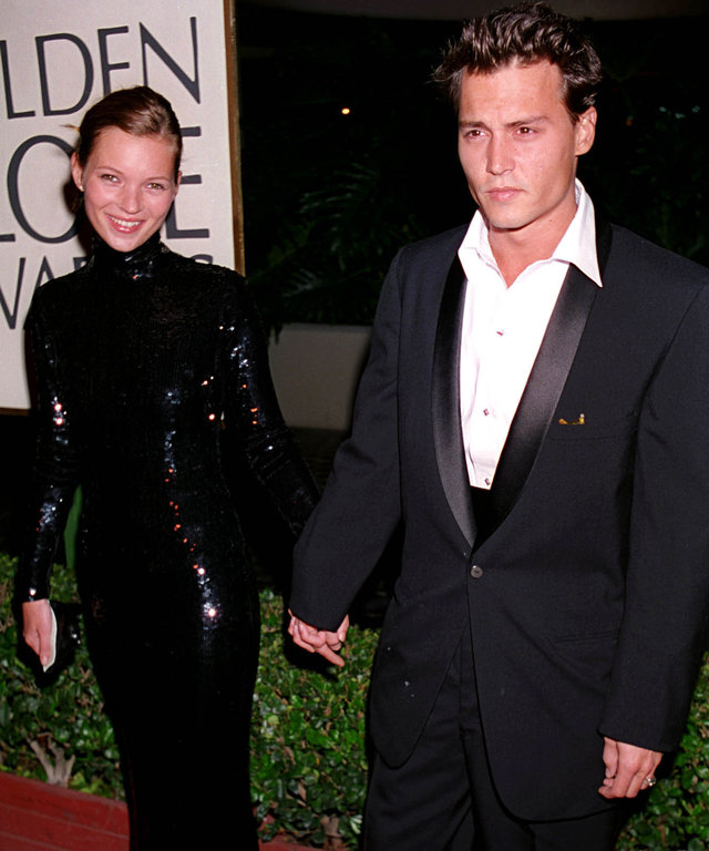 Kate Moss & Johnny Depp a during 1995 Golden Globe Awards in Los Angeles, California, United States. (Photo by Jeff Kravitz/FilmMagic, Inc)