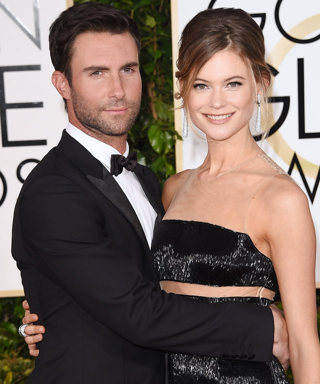 BEVERLY HILLS, CA - JANUARY 11:  Singer Adam Levine and model Behati Prinsloo  attend the 72nd Annual Golden Globe Awards at The Beverly Hilton Hotel on January 11, 2015 in Beverly Hills, California.  (Photo by Jason Merritt/Getty Images)