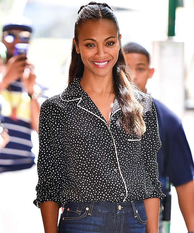 NEW YORK, NY - JULY 18:  Zoe Saldana leaves ABC's 'The View' on July 18, 2016 in New York City.  (Photo by James Devaney/GC Images) GC Images  591540427 577292592