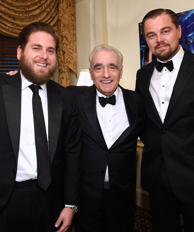 NEW YORK, NY - SEPTEMBER 21:  Actors Jonah Hill, Leonardo DiCaprio and Martin Scorsese attend as the Friars Club Honors Martin Scorsese With Entertainment Icon Award at Cipriani Wall Street on September 21, 2016 in New York City.  (Photo by Kevin Mazur)