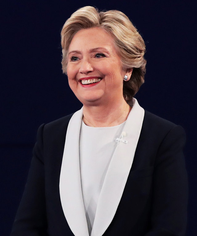 ST LOUIS, MO - OCTOBER 09:  Democratic presidential nominee former Secretary of State Hillary Clinton smiles during the town hall debate at Washington University on October 9, 2016 in St Louis, Missouri. This is the second of three presidential debates sc