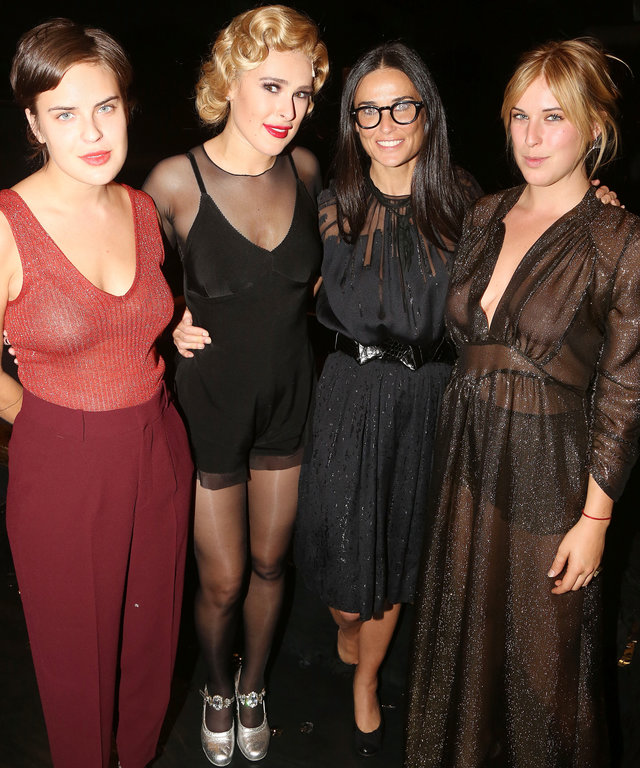 NEW YORK, NY - SEPTEMBER 21:  (EXCLUSIVE COVERAGE) (L-R) Tallulah Belle Willis, sister Rumer Willis, mother Demi Moore and Scout LaRue Willis pose backstage as Rumer makes her broadway debut as  Roxie Hart  in Broadway's  Chicago  on Broadway at The Ambas