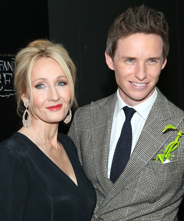 NEW YORK, NY - NOVEMBER 10:  Author J.K. Rowling and Actor Eddie Redmayne attend the  Fantastic Beasts And Where To Find Them  World Premiere at Alice Tully Hall on November 10, 2016 in New York City.  (Photo by Jimi Celeste/Patrick McMullan via Getty Ima