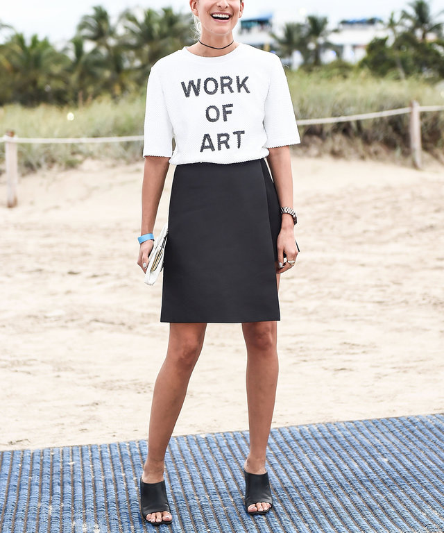 MIAMI, FL - DECEMBER 04:  Leah Kauffman is seen wearing a Forever 21 shirt, Cmeo Collective skort and Zara shoes at Untitled Art Fair on December 4, 2015 in Miami, Florida.  (Photo by Daniel Zuchnik/Getty Images)