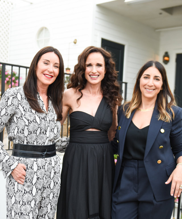 Tamara Mellon, Andie MacDowell and Andrea Lieberman outside on the San Vicente Bungalows patio.