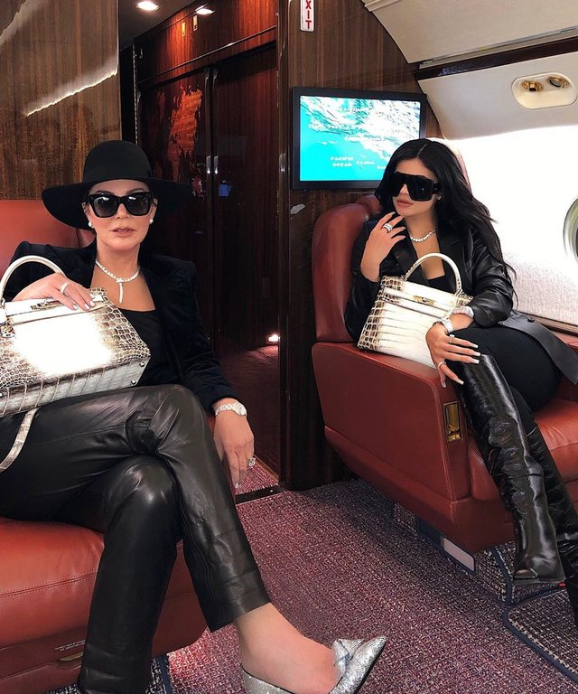 Kylie and Kris Jenner carrying Hermes bags