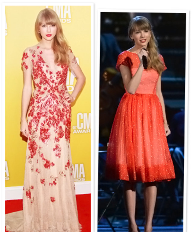 Cma Awards 2012 Taylor Swift S Red Dresses Instyle
