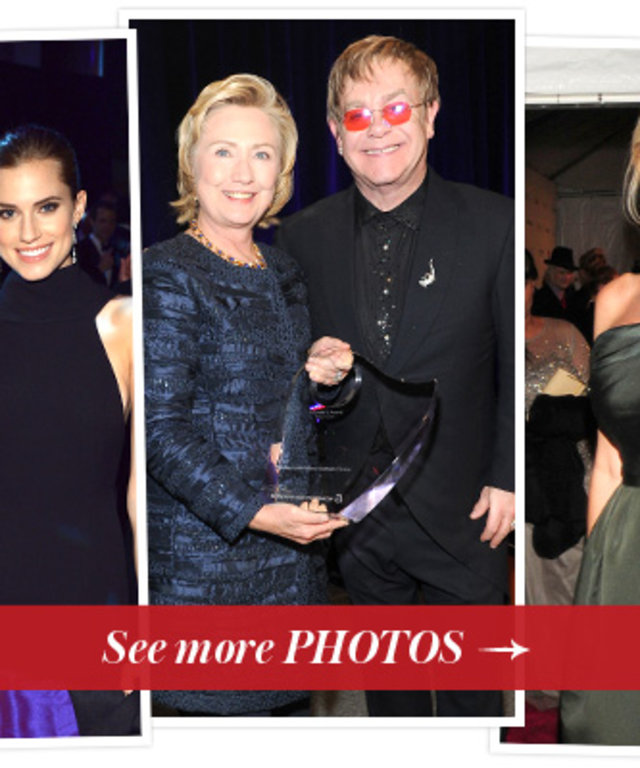 Hilary Rhoda,  Allison Williams, Hillary Clinton, Elton John, Sandra Lee