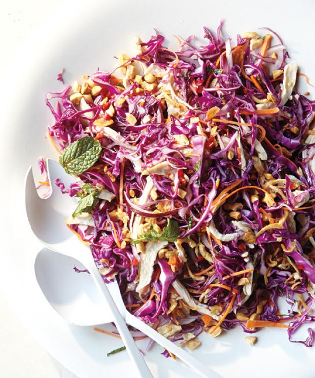 Summer Salads - Poached Chicken with Shredded Cabbage and Carrots