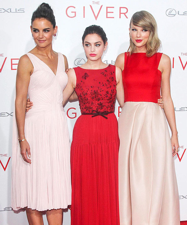 Katie Holmes, Odeya Rush, Taylor Swift at The Giver Premiere
