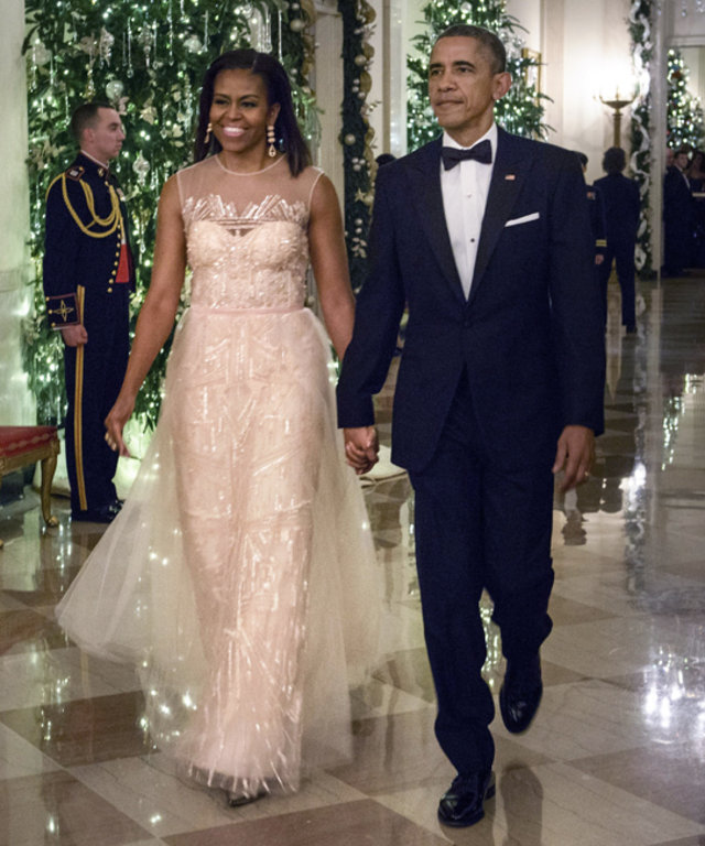 First Lady Michelle Obama in Monique Lhuillier at Kennedy Center Honors