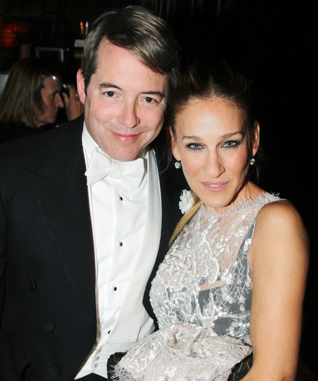 """Matthew Broderick and wife Sarah Jessica Parker pose backstage at The Opening Night for """"It's Only A Play"""" on Broadway at The Gerald Schoenfeld Theatre on October 9, 2014 in New York City."""