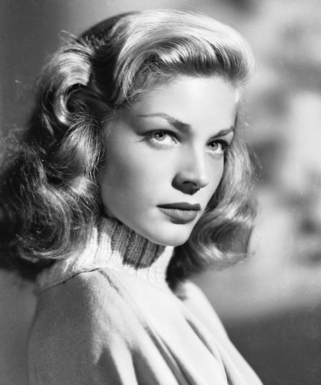 circa 1945:  American screen star Lauren Bacall wearing a polo neck jumper.  (Photo by Scotty Welbourne/John Kobal Foundation/Getty Images)