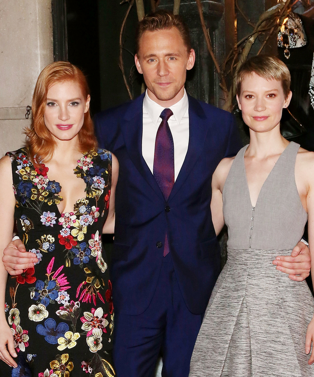 "Jessica Chastain, Tom Hiddleston, and Mia Wasikowska attend a celebration of Bergdorf Goodman Windows inspired by the Legendary Pictures and Universal Pictures film, ""Crimson Peak"" at Bergdorf Goodman on October 13, 2015 in New York City."
