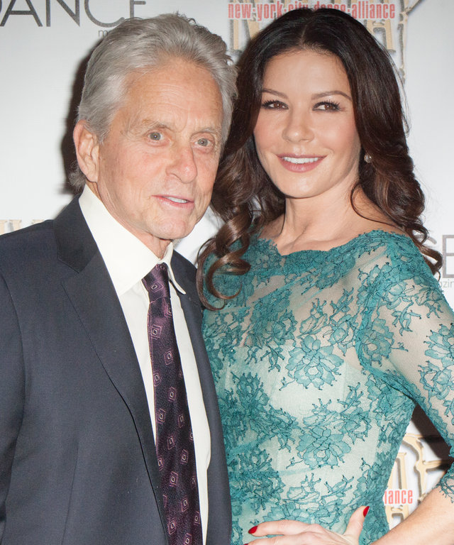 Michael Douglas and Catherine Zeta-Jones attend NYC Dance Alliance Foundation's  Bright Lights Shining Stars  Gala at NYU Skirball Center on September 27, 2015 in New York City.