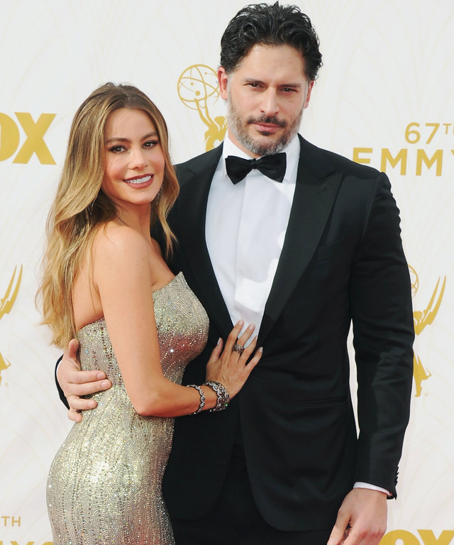 Actress Sofia Vergara and actor Joe Manganiello arrive at the 67th Annual Primetime Emmy Awards at Microsoft Theater on September 20, 2015 in Los Angeles, California.