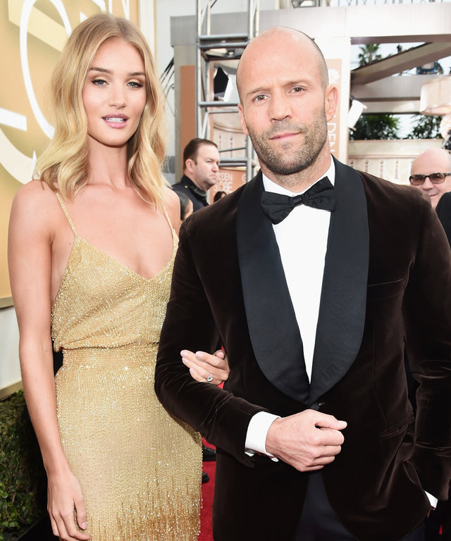 Actress/model Rosie Huntington-Whiteley and actor Jason Statham arrive to the 73rd Annual Golden Globe Awards held at the Beverly Hilton Hotel on January 10, 2016.