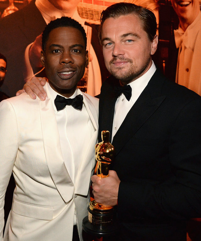 Chris Rock and Leonardo DiCaprio attend the 2016 Vanity Fair Oscar Party Hosted By Graydon Carter at the Wallis Annenberg Center for the Performing Arts on February 28, 2016 in Beverly Hills, California.