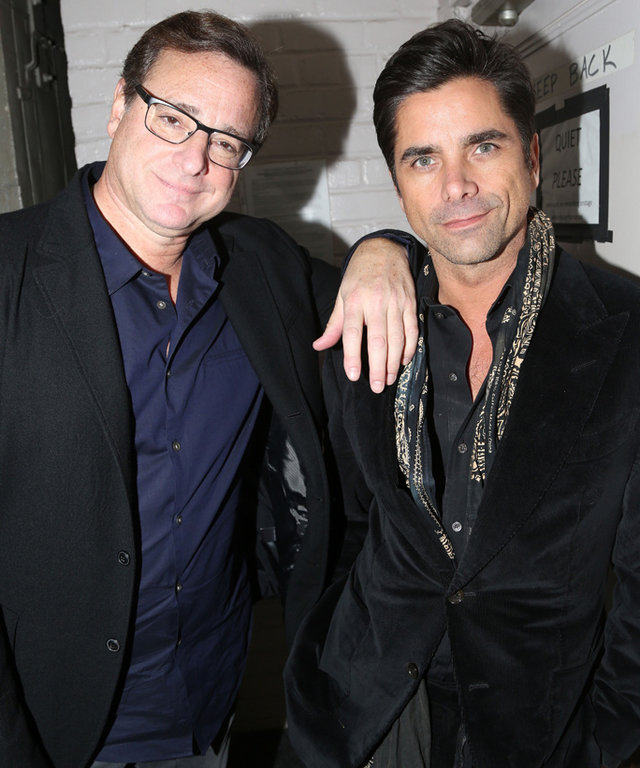NEW YORK, NY - DECEMBER 06:  Bob Saget and John Stamos (co-stars on the TV Show  Full House  ) pose backstage at the hit play  Hand to God  on Broadway at The Booth Theater on December 6, 2015 in New York City.  (Photo by Bruce Glikas/FilmMagic)