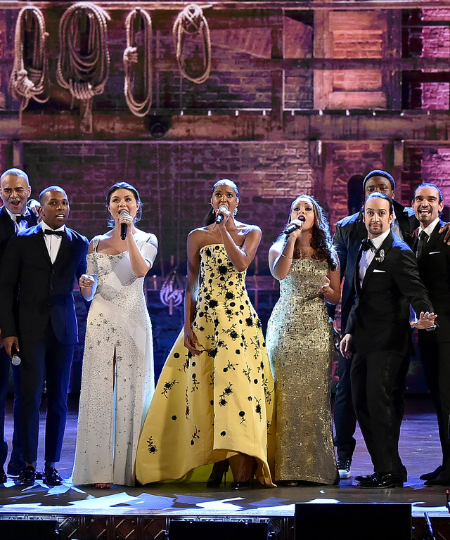 2016 Getty ImagesNEW YORK, NY - JUNE 12: The cast of  Hamilton  performs onstage during the 70th Annual Tony Awards at The Beacon Theatre on June 12, 2016 in New York City.  (Photo by Theo Wargo/Getty Images for Tony Awards Productions)