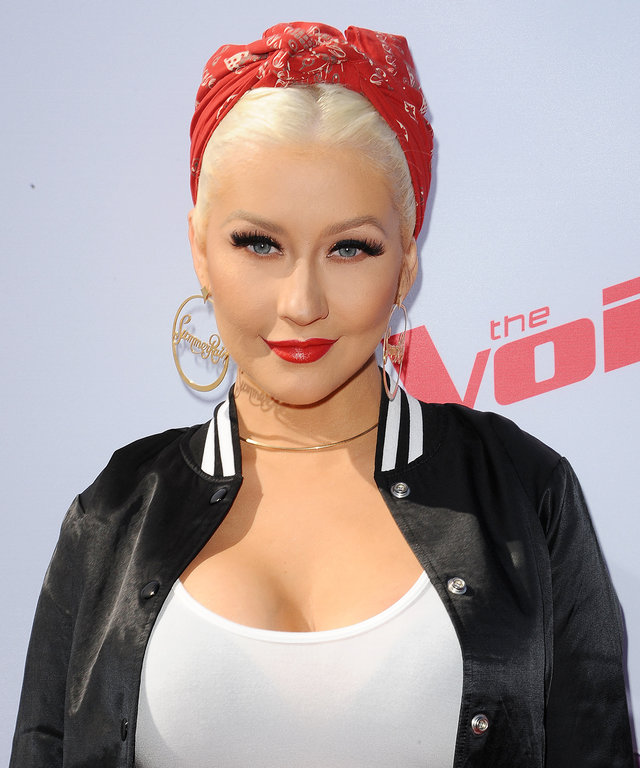 Christina Aguilera attends 'The Voice' Karaoke For Charity at HYDE Sunset: Kitchen + Cocktails on April 21, 2016 in West Hollywood, California.