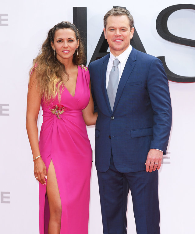 "LONDON, ENGLAND - JULY 11: Luciana Barroso and Matt Damon arrive for the European premiere of ""Jason Bourne"" at Odeon Leicester Square on July 11, 2016 in London, England. (Photo by Karwai Tang/WireImage)"