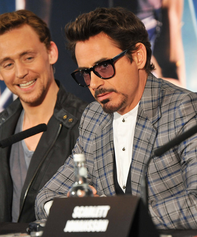 LONDON, ENGLAND - APRIL 19: (EXCLUSIVE COVERAGE) Actors Tom Hiddleston and Robert Downey Jr attend Marvel Studios' Avengers Assemble Press Conference at Claridge's Hotel on April 19, 2012 in London, England. (Photo by Jon Furniss/WireImage)