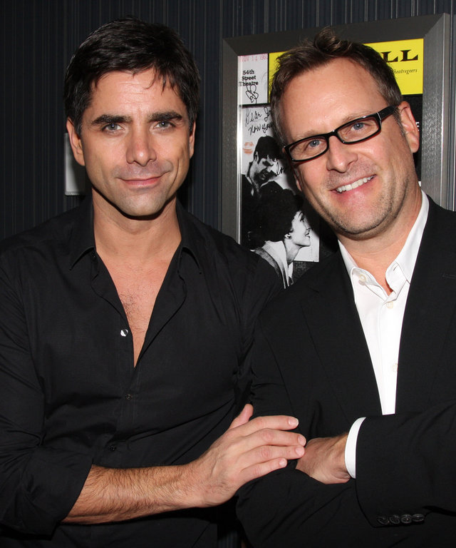NEW YORK - OCTOBER 26:  John Stamos and Dave Coulier (who co-starred in the TV Show  Full House ) pose backstage at the hit musical  Bye Bye Birdie  on Broadway at The Henry Miller Theater on October 26, 2009 in New York City.