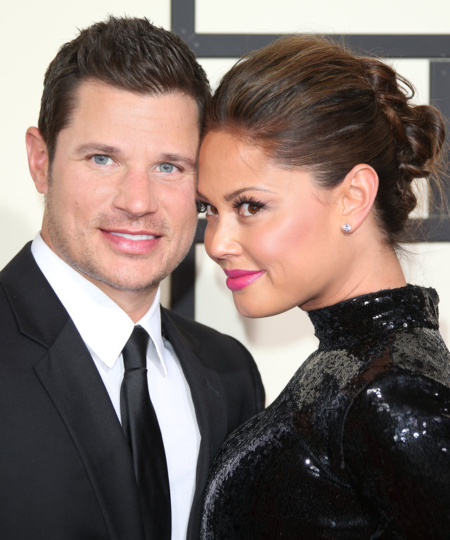TV personalities Nick Lachey and Vanessa Lachey attend The 58th GRAMMY Awards at Staples Center on February 15, 2016 in Los Angeles, California.