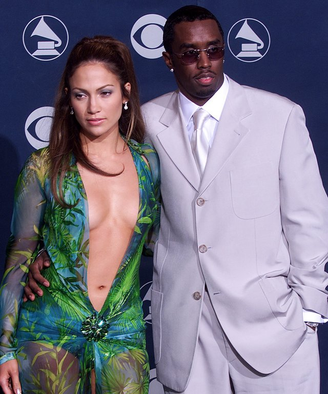 Singer/actress Jennifer Lopez (L) poses with her b