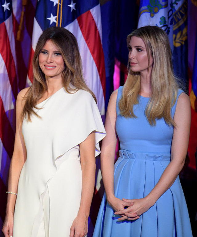 Melania Trump (L) and Ivanka Trump look on as Republican presidential elect Donald Trump speaks during election night at the New York Hilton Midtown in New York on November 9, 2016.  / AFP / JIM WATSON        (Photo credit should read JIM WATSON/AFP...