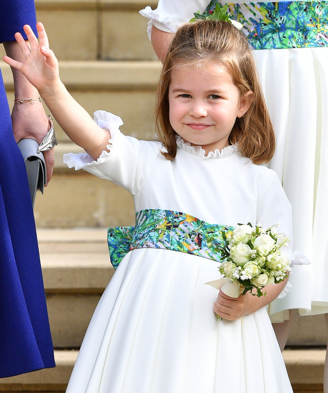 WINDSOR, UNITED KINGDOM - OCTOBER 12: (EMBARGOED FOR PUBLICATION IN UK NEWSPAPERS UNTIL 24 HOURS AFTER CREATE DATE AND TIME) Princess Charlotte of Cambridge attends the wedding of Princess Eugenie of York and Jack Brooksbank at St George's Chapel on...