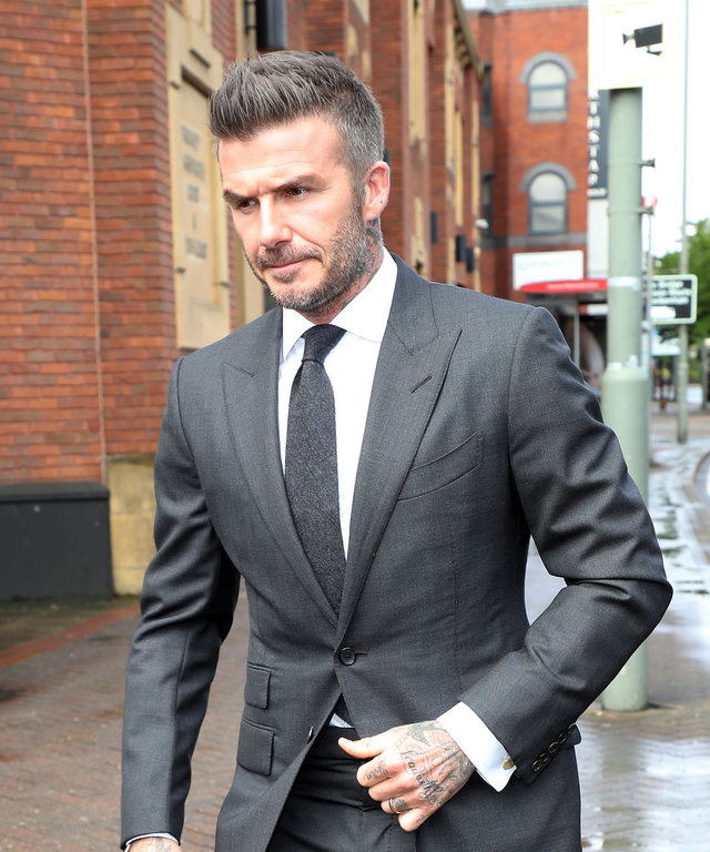 LONDON, ENGLAND - MAY 09:  David Beckham arrives at Bromley Magistrates Court on May 09, 2019 in London, England. David Beckham is facing a possible ban or points for using a mobile phone while driving (Photo by Neil Mockford/GC Images)