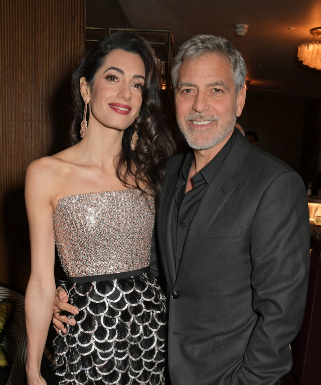 LONDON, ENGLAND  - MAY 15:  Amal Clooney and George Clooney attend the London Premiere after party for new Channel 4 show  Catch-22 , based on Joseph Heller's novel of the same name, at White City House on May 15, 2019 in London, England.  (Photo by...