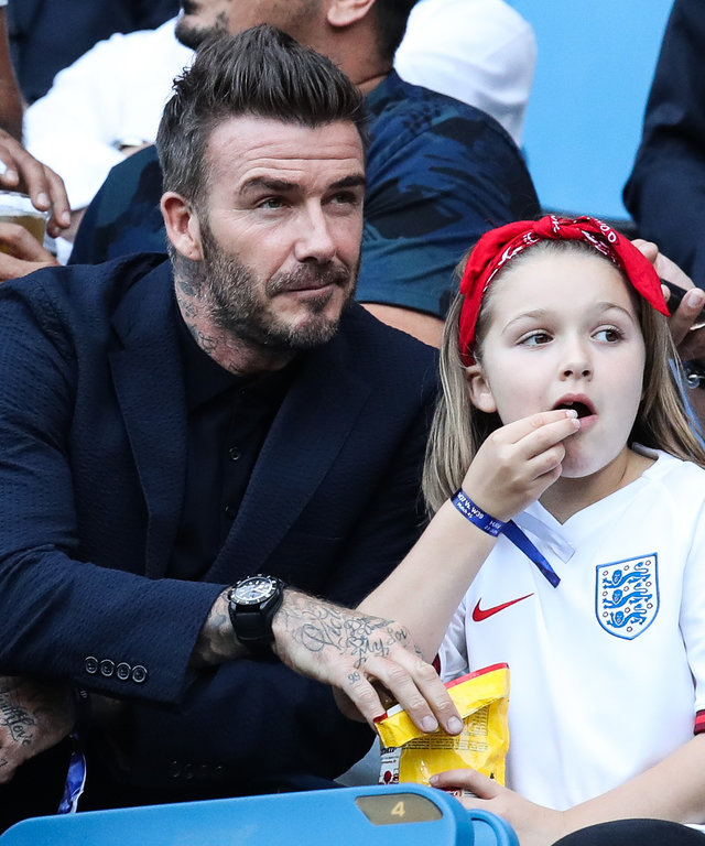 David Beckham and Harper Beckham at Norway v England: Quarter Final  - 2019 FIFA Women's World Cup France