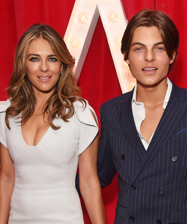 LONDON, ENGLAND - NOVEMBER 05:  Elizabeth Hurley (L) and son Damian Hurley attend the World Premiere of  Paddington 2  at Odeon Leicester Square on November 5, 2017 in London, England.  (Photo by David M. Benett/Dave Benett/WireImage)