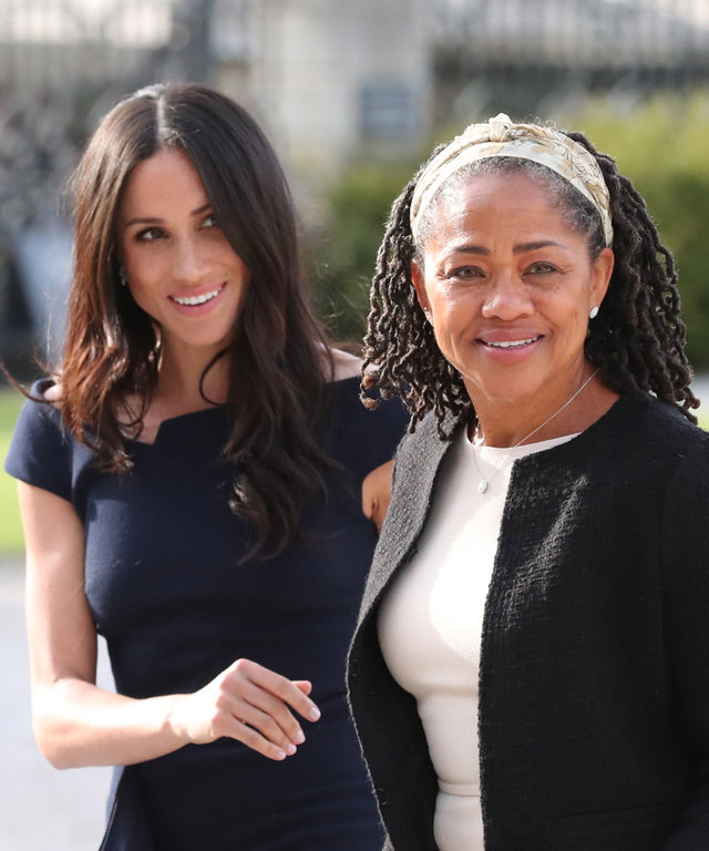 BERKSHIRE, ENGLAND - MAY 18:  Meghan Markle and her mother, Doria Ragland arrive at Cliveden House Hotel on the National Trust's Cliveden Estate to spend the night before her wedding to Prince Harry on May 18, 2018 in Berkshire, England.  (Photo by...