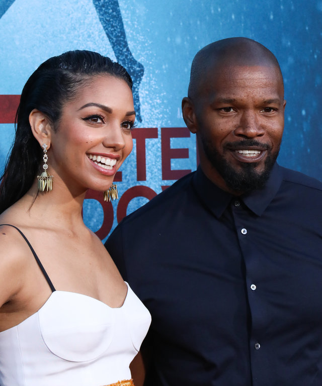 WESTWOOD, CALIFORNIA - AUGUST 13: Actors Corinne Foxx (L) and Jamie Foxx (R) attend the LA premiere of  47 Meters Down Uncaged  the at Regency Village Theatre on August 13, 2019 in Westwood, California. (Photo by Paul Archuleta/FilmMagic)