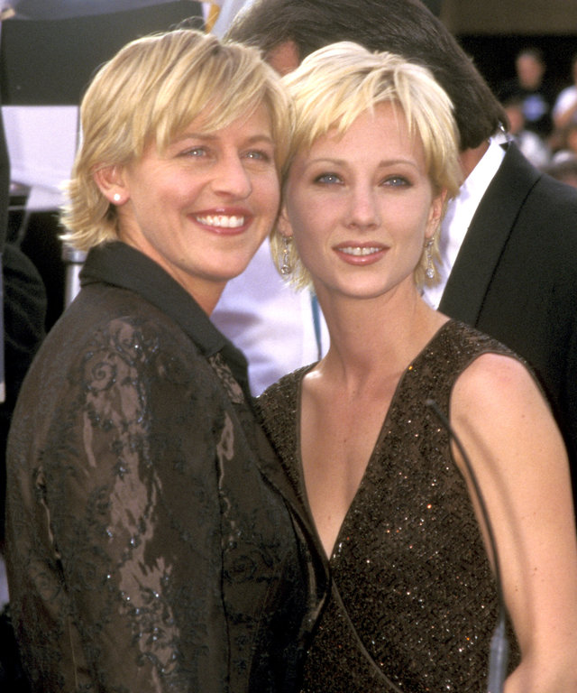 Ellen DeGeneres and Anne Heche at the Pasadena Civic Auditorium in Pasadena, California (Photo by Ron Galella/Ron Galella Collection via Getty Images)