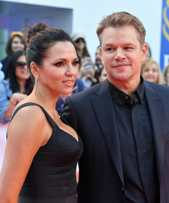 "TORONTO, ONTARIO - SEPTEMBER 09: (L-R) Luciana Barroso and Matt Damon attend the ""Ford v Ferrari"" premiere during the 2019 Toronto International Film Festival at Roy Thomson Hall on September 09, 2019 in Toronto, Canada. (Photo by George Pimentel/Getty..."