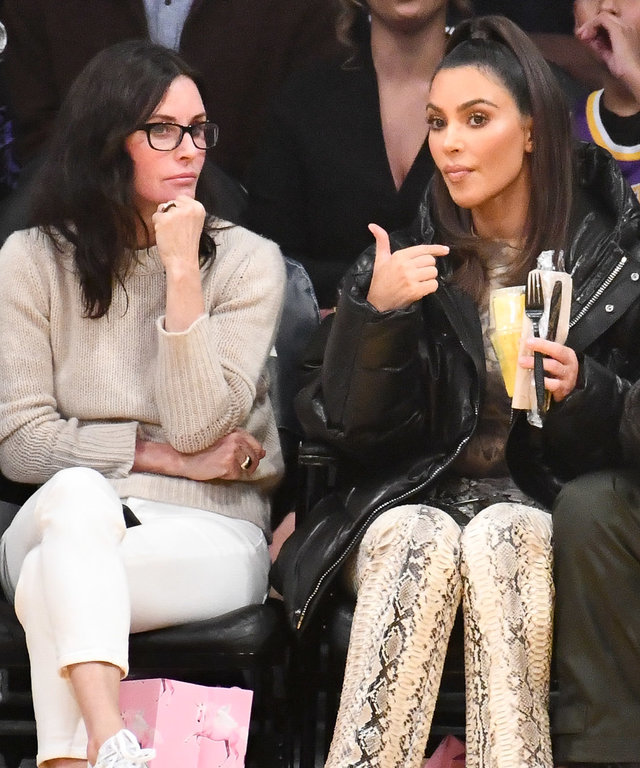 Kim Kardashian and Courteney Cox at Los Angeles Lakers Game