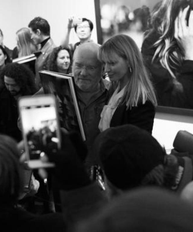 Uma Thurman and Peter Lindbergh at book signing.
