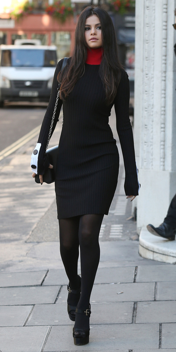 In a Ribbed Knit Dress