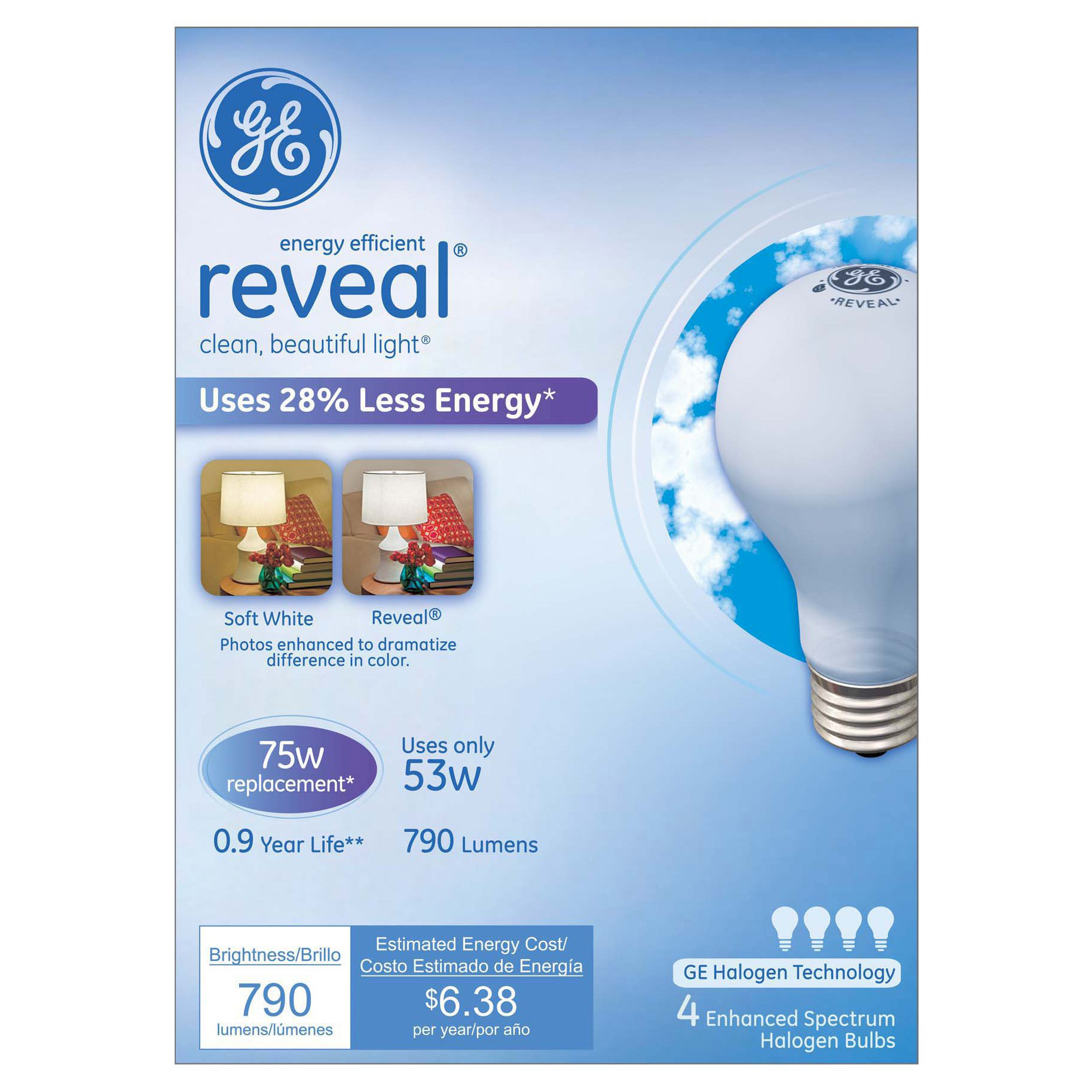 GE Reveal 75-Watt Energy Efficient Halogen Light Bulb