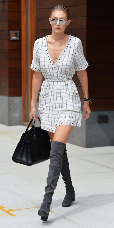 18c7b59ff7d Gigi Hadid s Labor Day Wrap Dress Is Our New Favorite