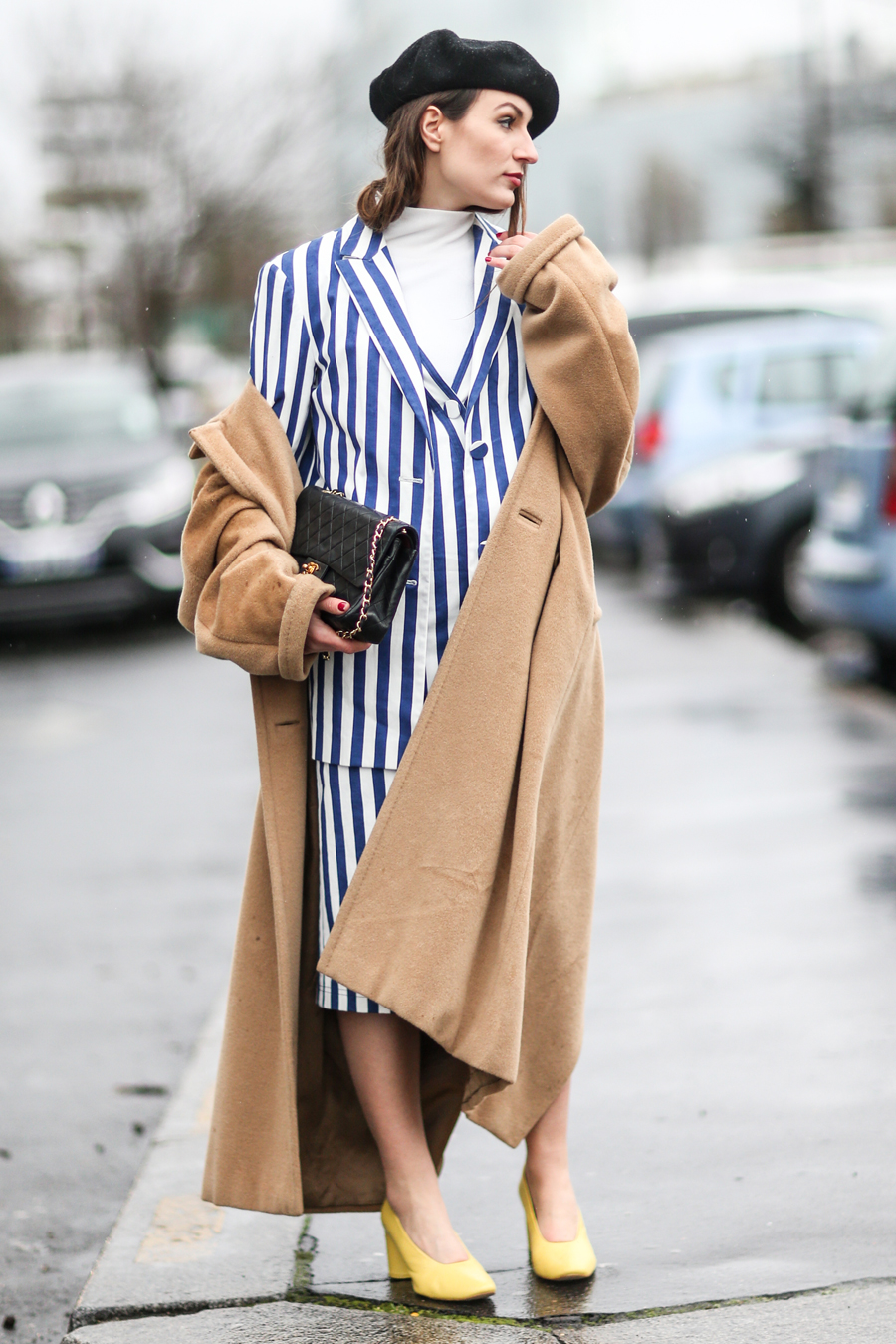 STRIPED SET AND CAMEL COAT