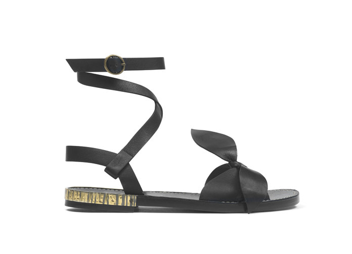 BOW-DETAILED LEATHER SANDALS